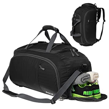 Duffel Backpack Travel Luggage Gym Sports Bag with Shoe Compartment Men  Women Black 3c75aaada7942