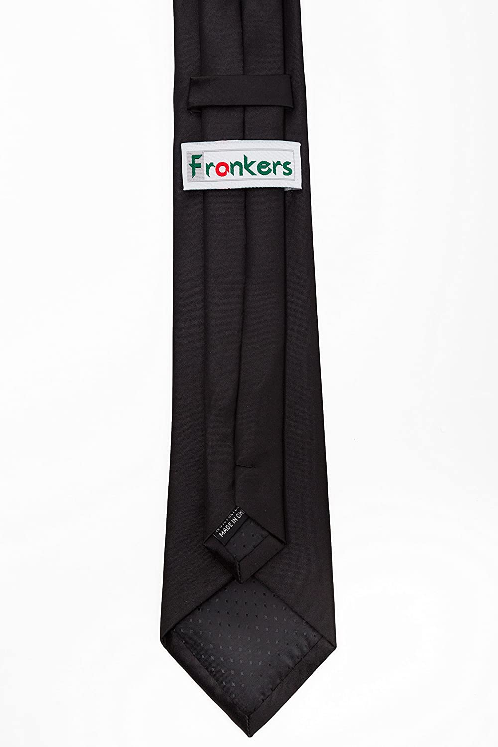 """Multiple Colors Available Frankers Men/'s 20/""""x2.75/"""" Banded Poly Satin Solid Color Adjustable Windsor Pre-tied Tie"""