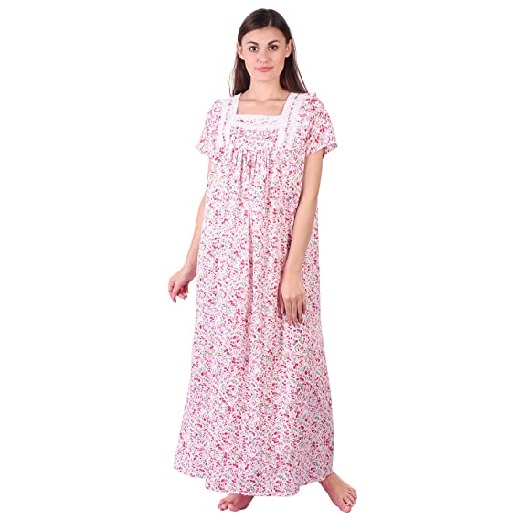 b41d51f2da LDHSATI Fashion Women Pure Cotton Nighty Serena Satin Flower Printed Lace  Nightwear Night Dress Sleepwear Maxi