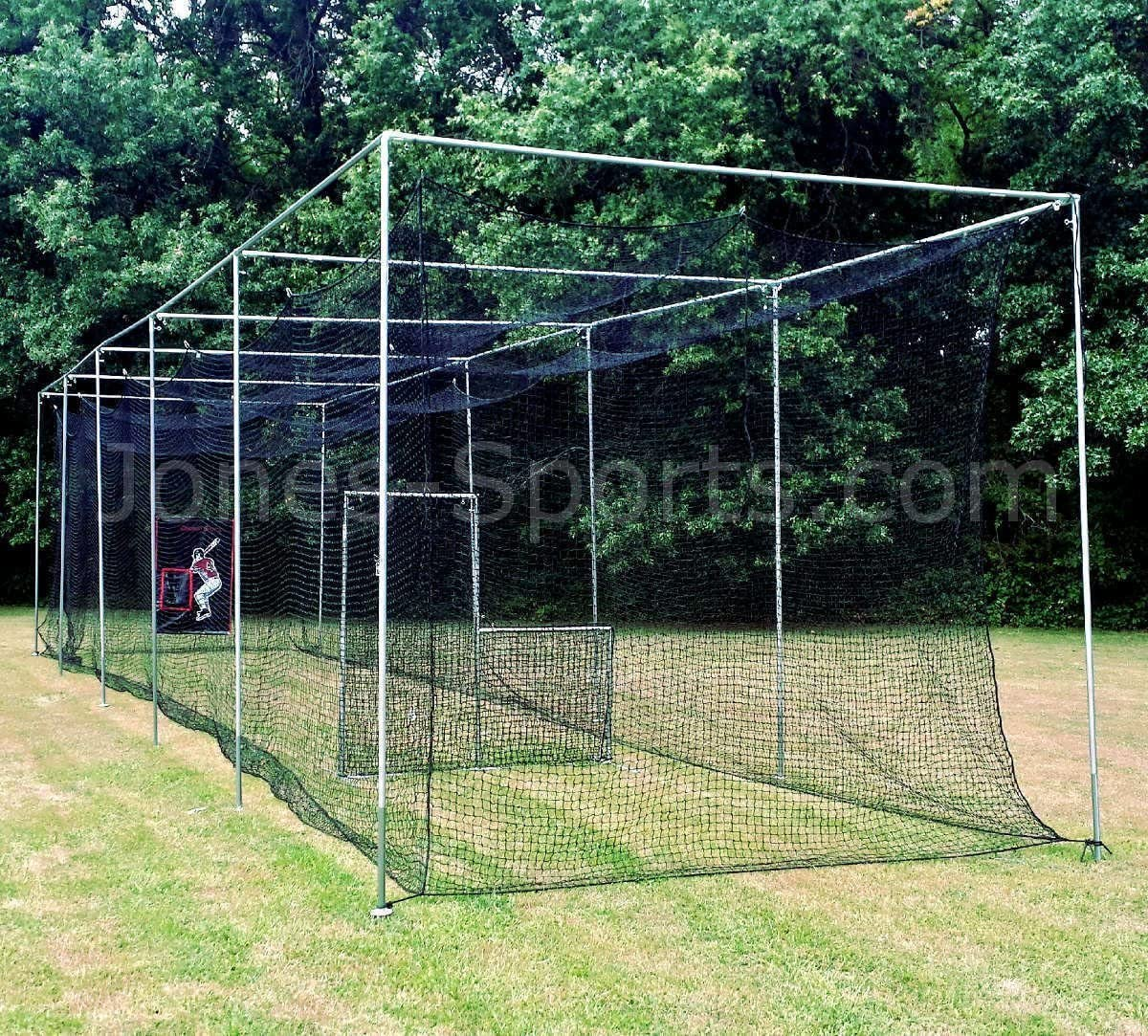Jones Sports Batting Cage Net 10 H x 12 W x 30 L 42 HDPE 60PLY with Door Heavy Duty Baseball