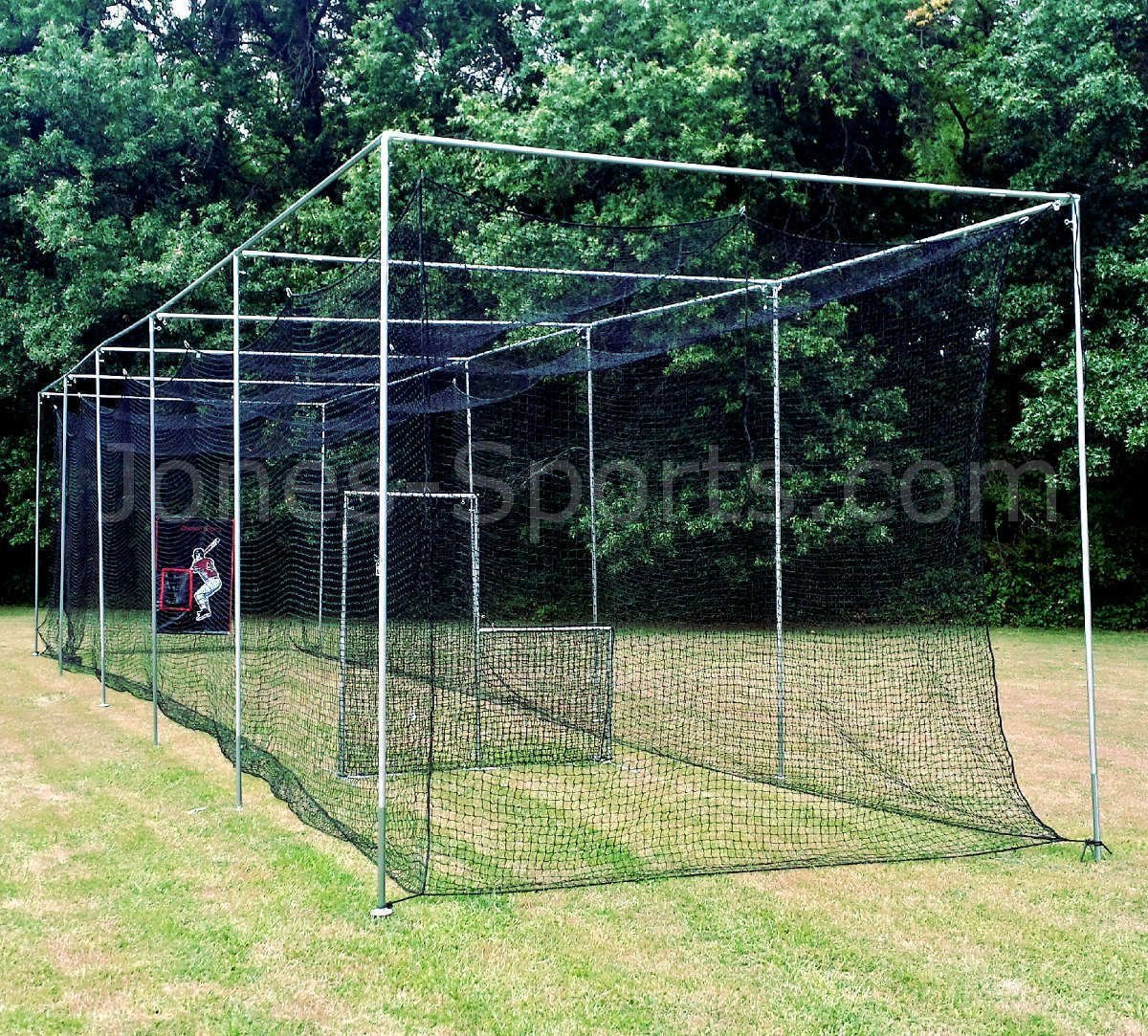 Jones-Sports Heavy Duty 10 x 12 x 30 #42( 60 Ply) Batting Cage Net with Door for Softball, Baseball by Jones Sports