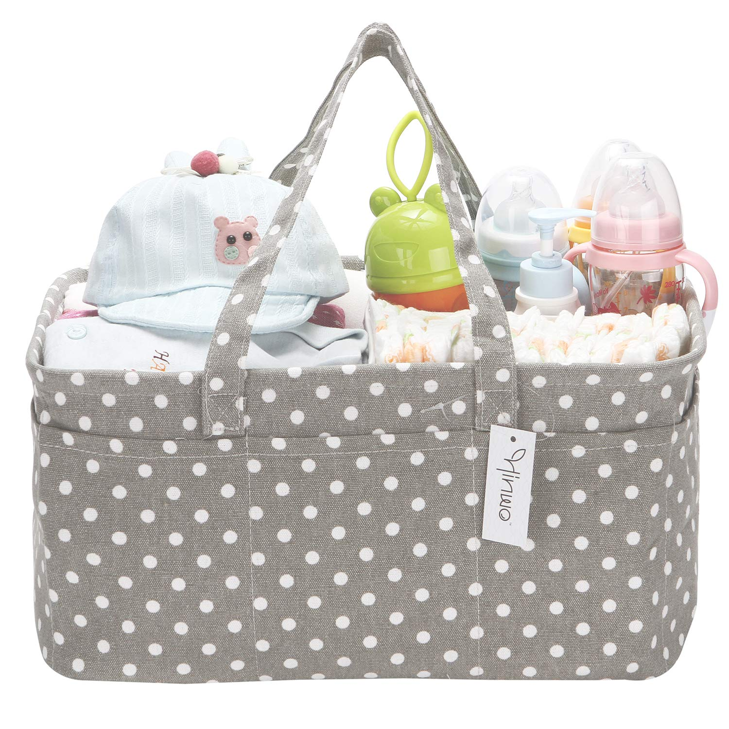 Grey Star Hinwo Baby Diaper Caddy 3-Compartment Infant Nursery Tote Storage Bin Portable Car Organizer Newborn Shower Gift Basket with Detachable Divider and 10 Invisible Pockets for Diapers /& Wipes