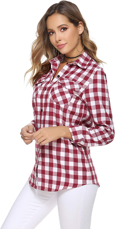Aibrou Mens Long Sleeve Checked Shirt Plaid Cotton Casual Regular Fit Shirt Black