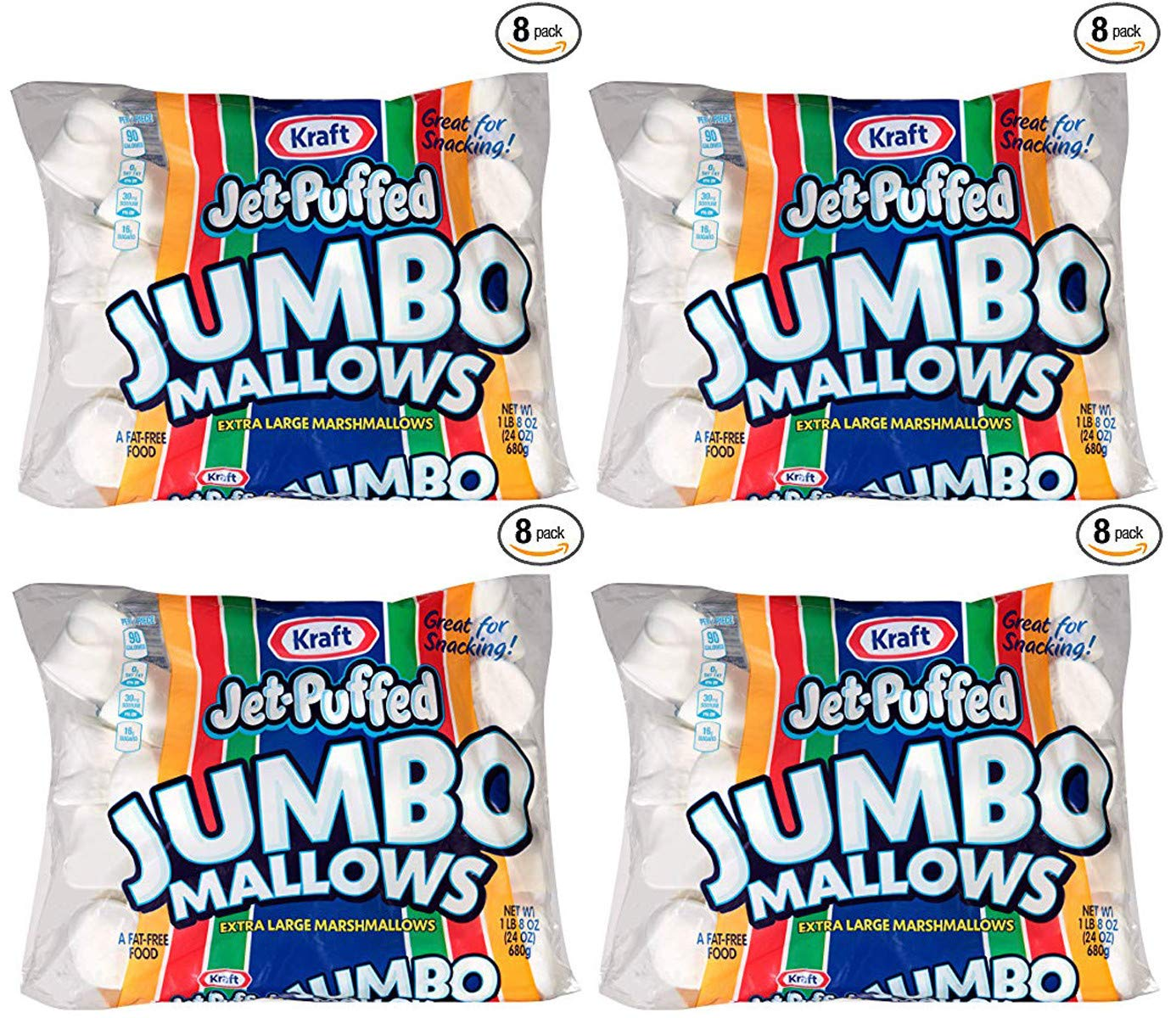 vfr Jumbo Marshmallows, 24 oz Bag, 4 Packs (8 Pack) by Jet-Puffed