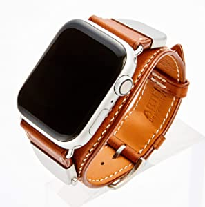 ARTENIX detachable leather smartwatch band compatible with Apple Watch 44mm iWatch strap for series 1 2 3 4 5 (Classic Brown)