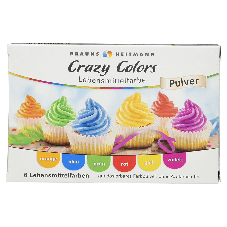 Brauns-Heitmann Crazy Colors Lebensmittelfarbe Pulver, 6 Farben, 24 ...