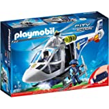 Playmobil Police Helicopter with LED Searchlight Playset Toy