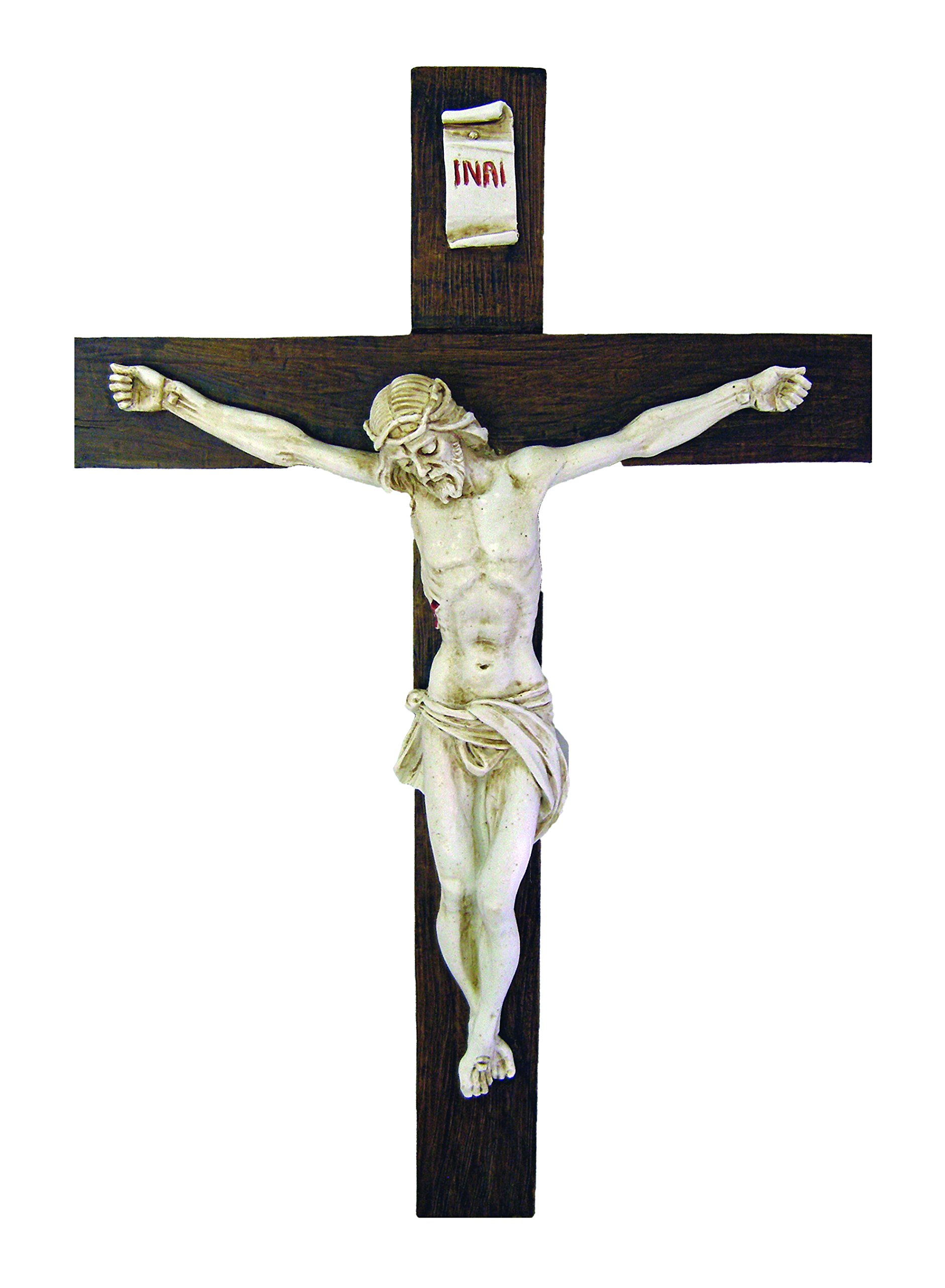 A beautiful Crucifix with antiqued alabaster corpus on a dark alabaster cross, 15''. Made in Italy.