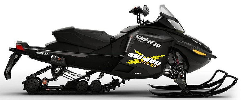 SKI-DOO Team 3DX 4 PACK Vinyl Vehicle Snowmobile Winter Graphics Decal Stickers YELLOW