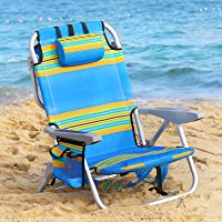 Beach Chair Portable Folding Backpack Beach Lounge Chair with Backpack Straps and Storage Pouch, for Camping Concert…