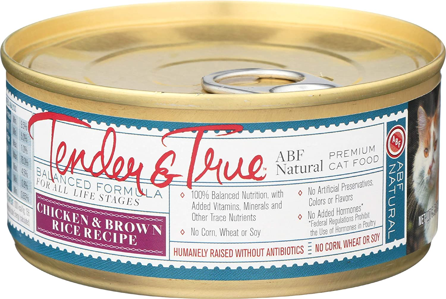Tender and True Pet Food, Cat Food Can Antibiotic Free Wet Chicken Brown Rice, 5.5 Ounce