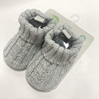 Playette Cable Knitted Bootie for 0-6 Months Baby, Grey,