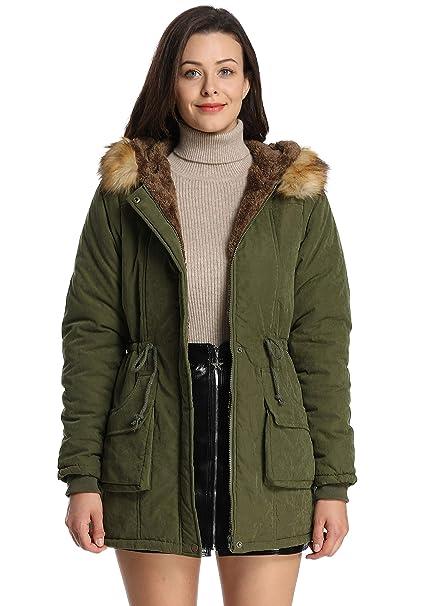 iLoveSIA Mujer con Capucha cálido Abrigos Parkas con Faux Fur Chaquetas: Amazon.es: Ropa y accesorios