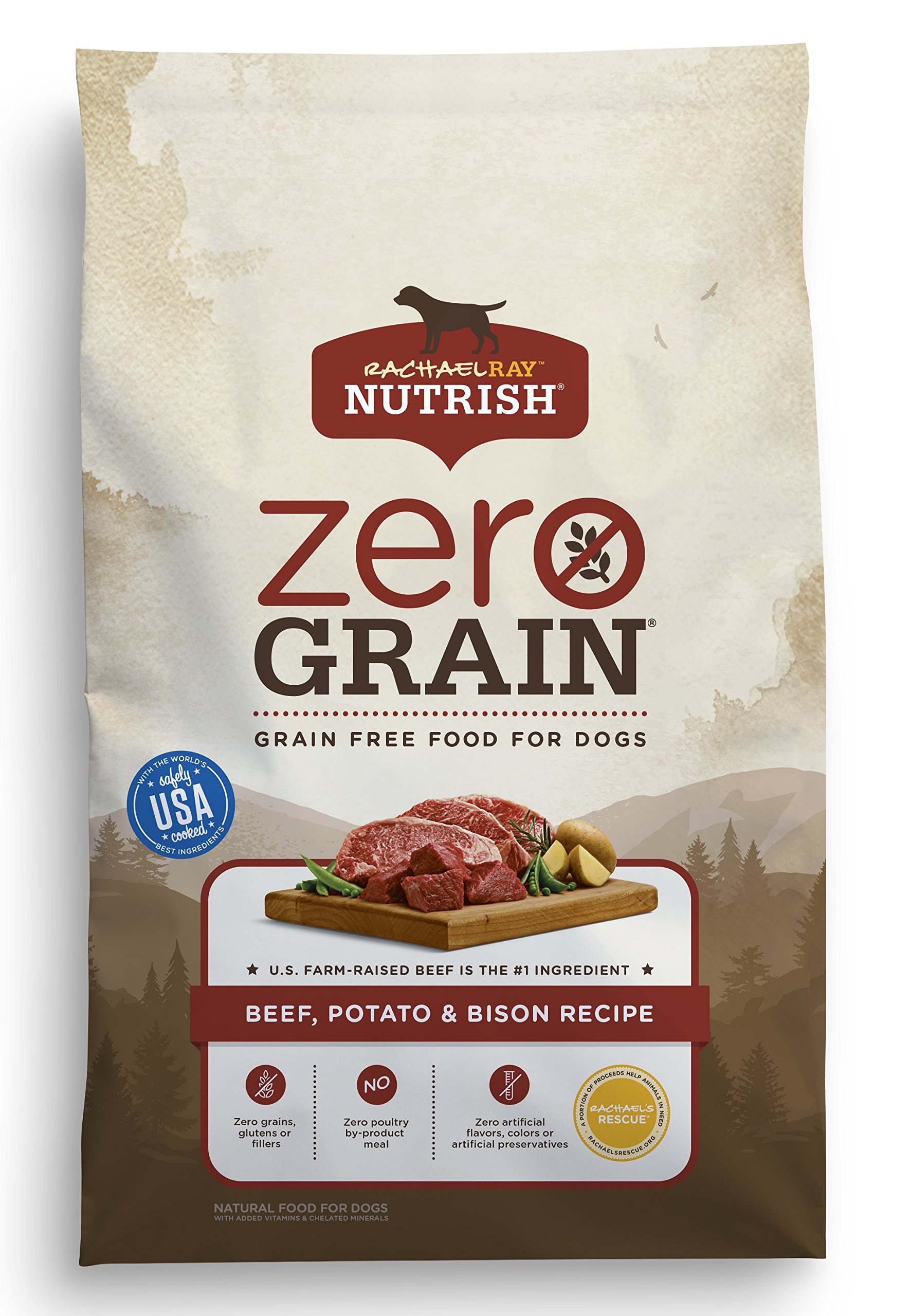 Rachael Ray Nutrish Zero Grain Natural Grain Free Dry Dog Food Beef, Potato, & Bison