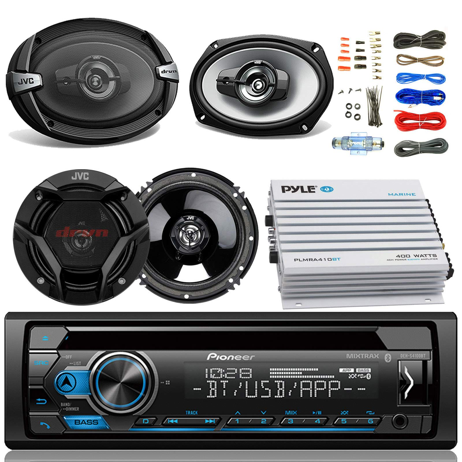 Pioneer DEH-S4100BT Car Bluetooth Radio USB AUX CD Player Receiver - Bundle Combo with 2X JVC 6x9 3-Way Vehicle Coaxial Speakers + 2X 6.5 Inch 2-Way Audio Speakers + 4-Channel Amplifier + Amp Kit
