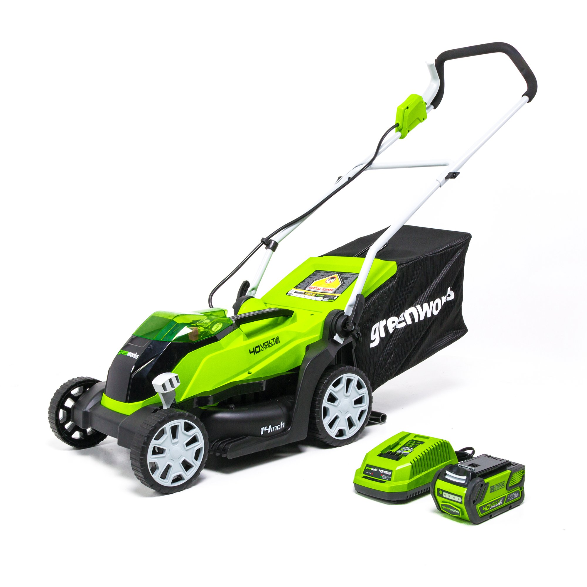 Greenworks 14-Inch 40V Cordless Lawn Mower, 4.0 AH Battery Included MO40B410 by Greenworks