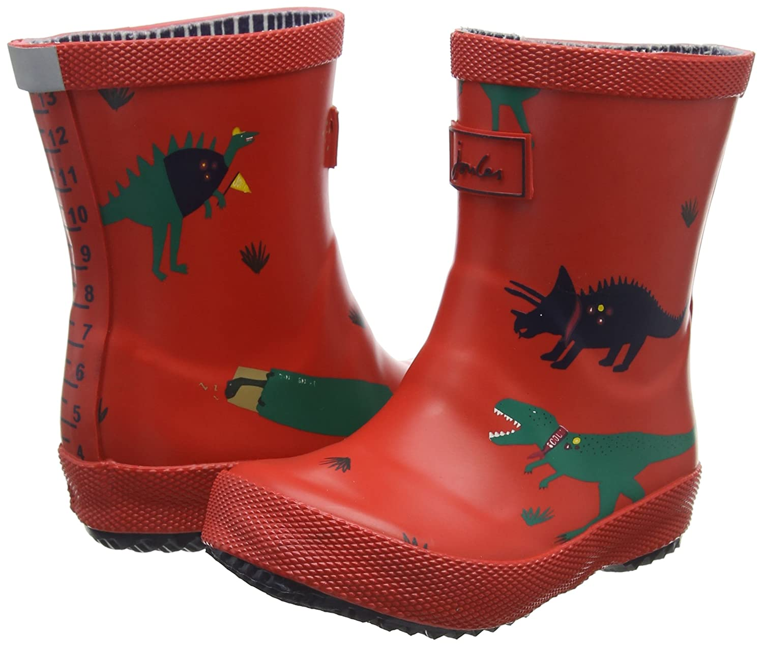 Joules Boys Baby Rubber Printed Wellington Boots UK 4// US 6 Red Dinosaur