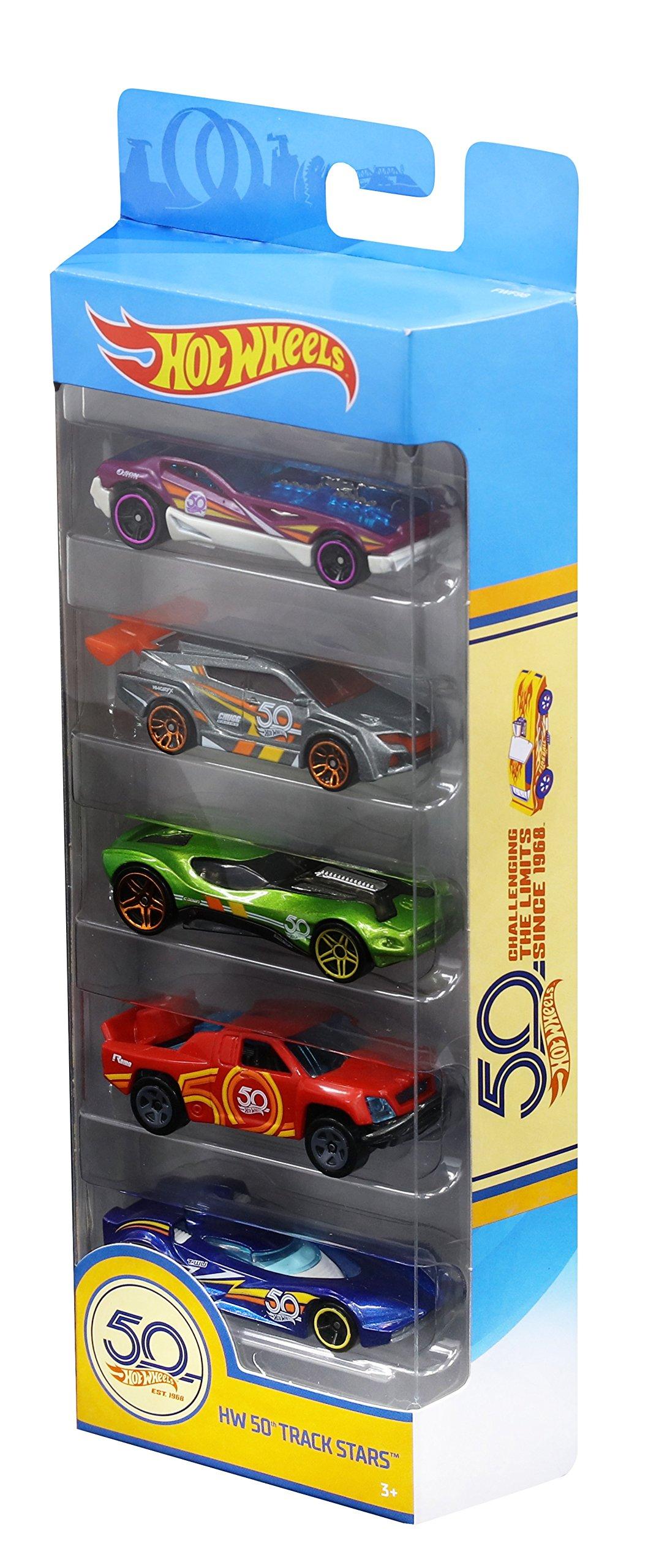 Hot Wheels FWF98 50th Anniversary Car 5 Pack Slot Cars, Race