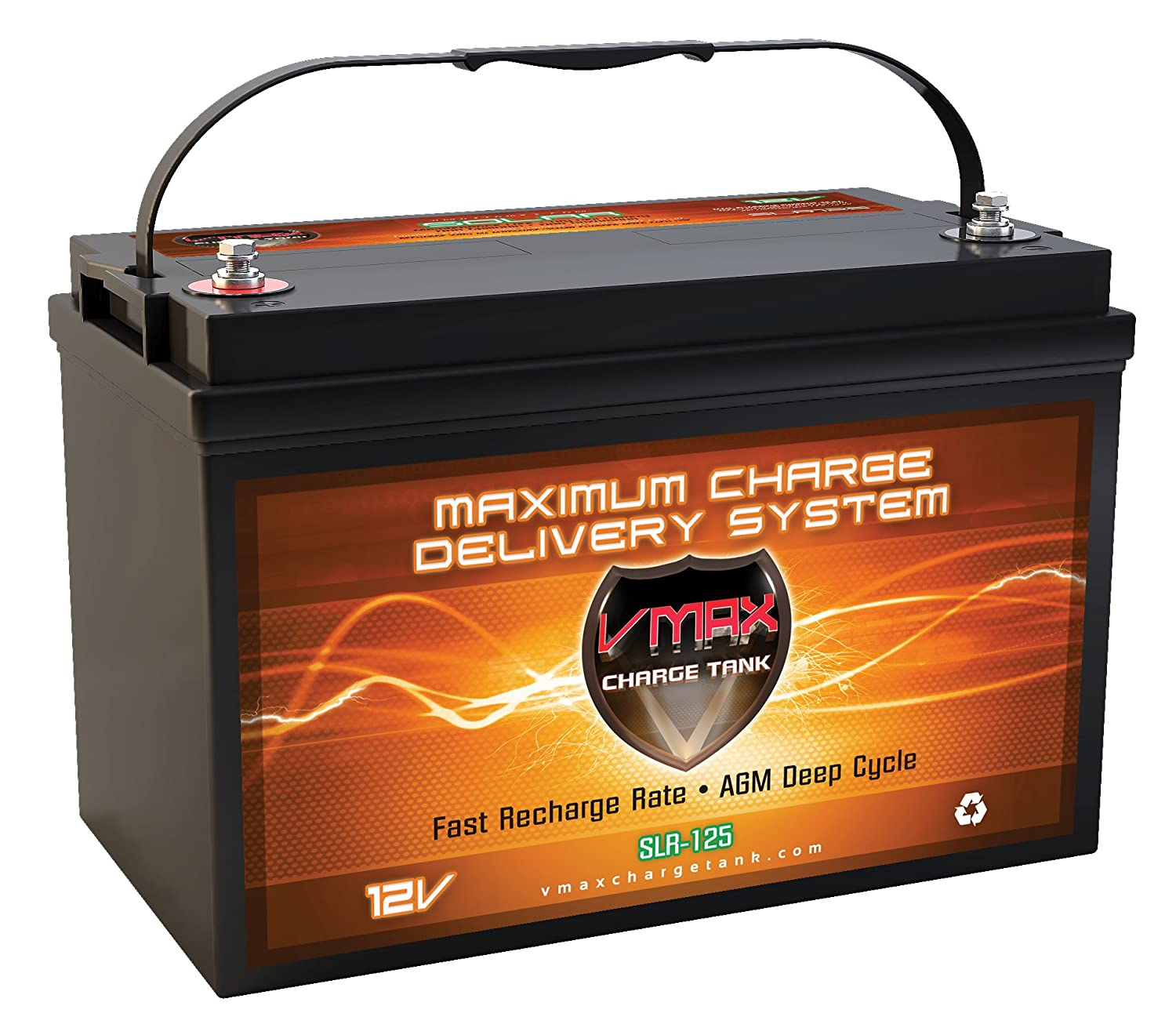 Best performance RV deep cycle battery is the VMAX SLR125 AGM Deep Cycle Battery