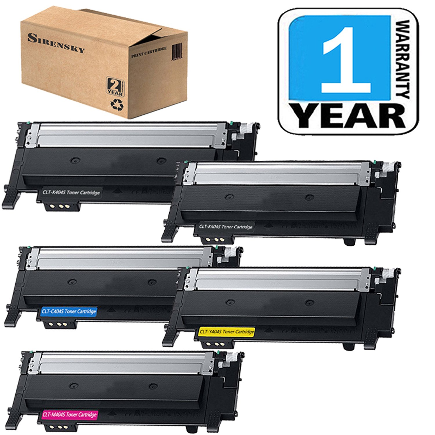CLT-K404S CLT-C404S CLT-Y404S CLT-M404S Toner Cartridge of 5 Pack Compatible for Samsung 404 404S Toner Set, use in Xpress C430W C480FW Laser Printer, Sirensky by Sirensky