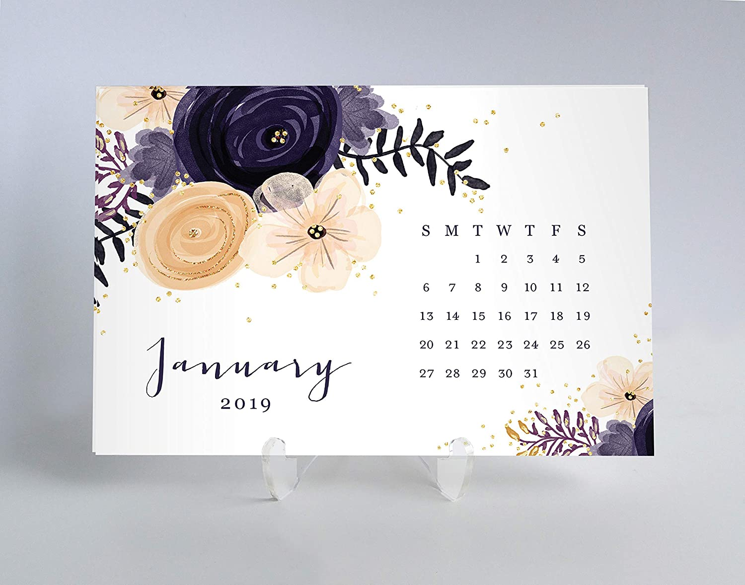 2019 Desk Calendar Appointment Meeting Planner Cards Pretty Plum & Peach Floral Design Birthday Christmas Gift for Woman Business Owner Job Office Coworker 4 x 6 inches w Clear Acrylic Stand – Kerri