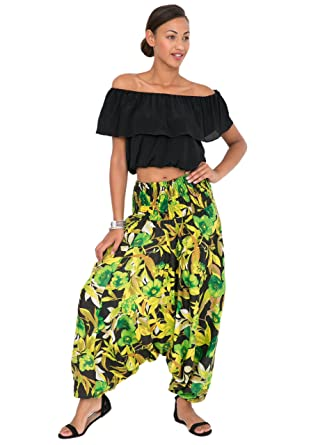 19247c59887 likemary 2 In 1 Harem Trousers and Bandeau Jumpsuit Tropical Regular   Amazon.co.uk  Clothing