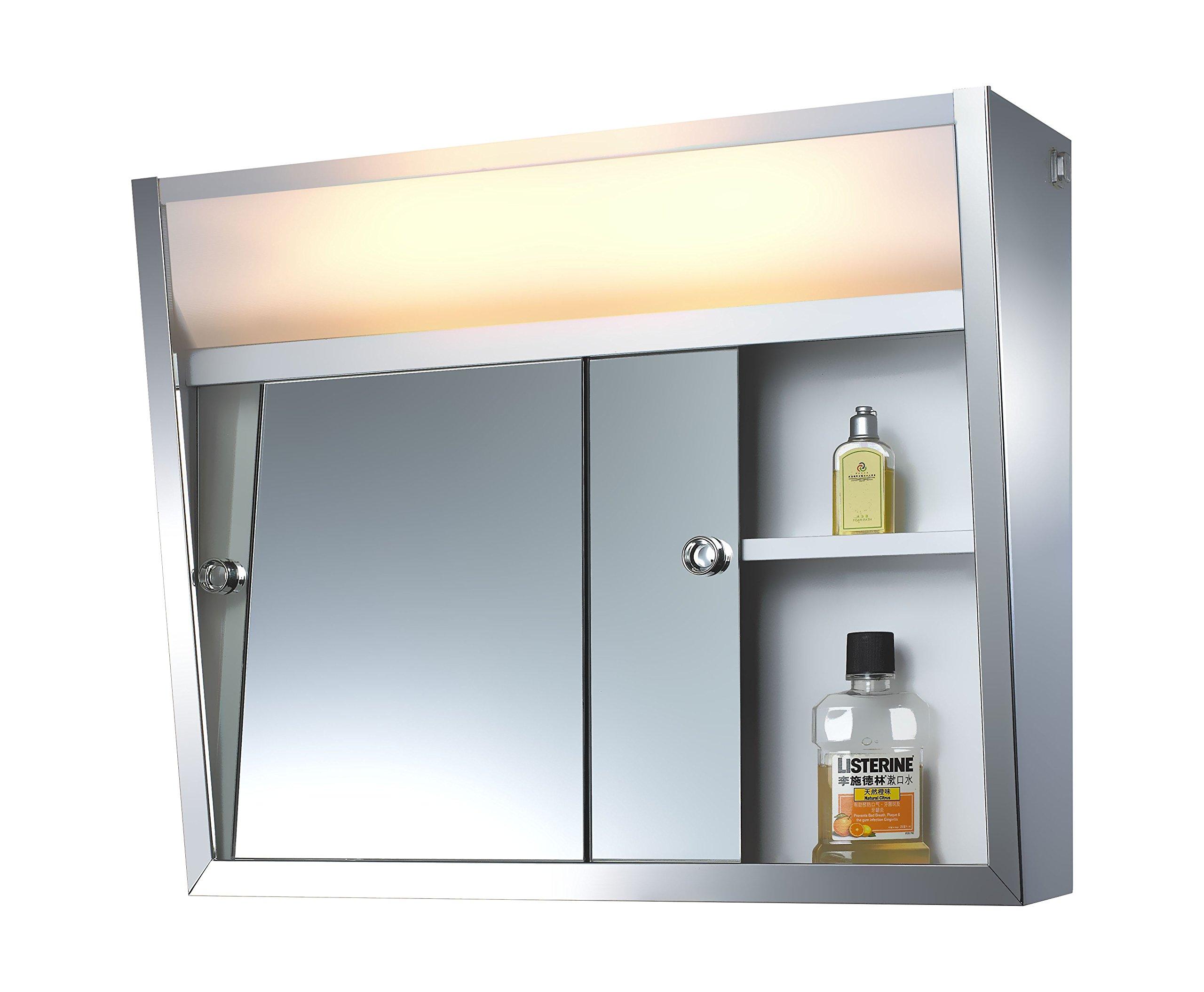 "ketcham Cabinets Sliding Door Series Medicine Cabinet 24X19 - Sliding Door Series Medicine Cabinet. Rust Resistant Finish Integral Top Light. Chrome Trimmed Removable 1/4"" Bulb Edge Glass Shelves - shelves-cabinets, bathroom-fixtures-hardware, bathroom - 81PJNVRKYYL -"