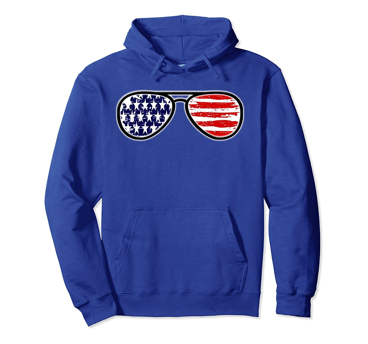 American Flag Sunglasses July 4th Independence Day Hoodie-AZP