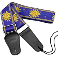 BestSounds Guitar Strap Genuine Leather Ends & Sun Jacquard Weave Style Strap For Bass, Electric & Acoustic Guitars (Apollo Blue)