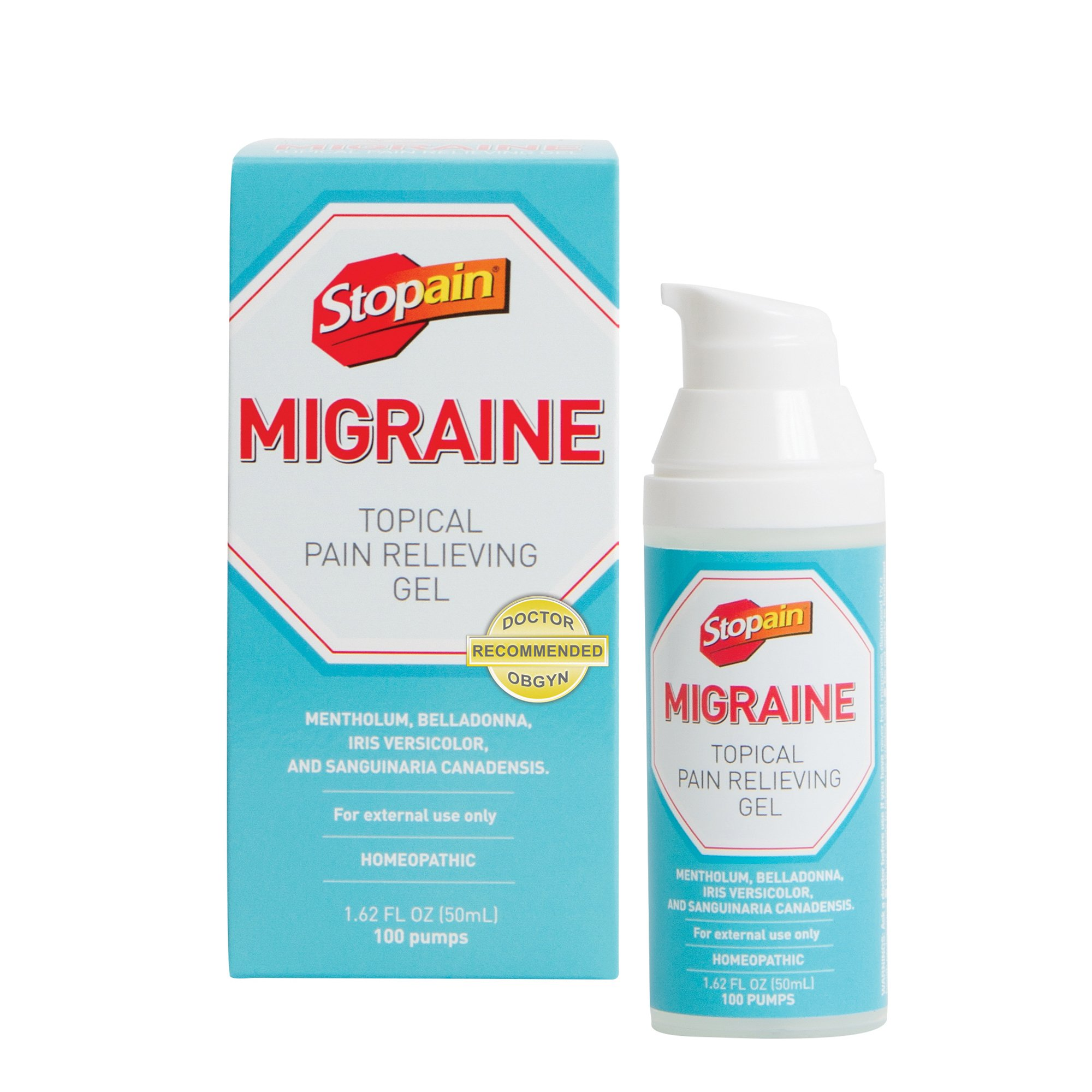 Stopain Migraine Topical Pain Relieving Gel, 1.62 fl. oz., Safe and Effective Migraine Relief, Safe to Use With Other Migraine Medication, Effective At Any Stage of a Migraine, No Known Side Effects