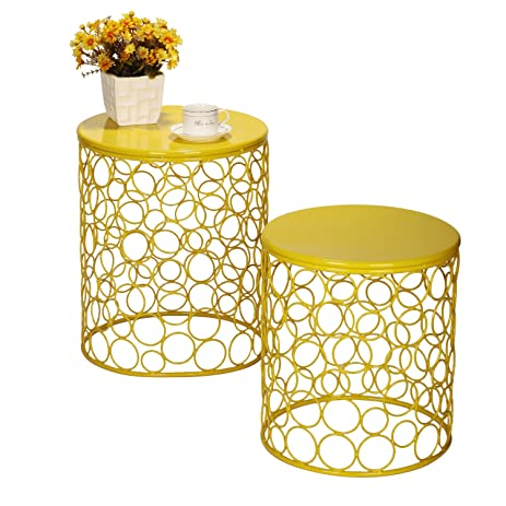 Amazon joveco bubble pattern metal iron wire structure stool joveco bubble pattern metal iron wire structure stool end table side table keyboard keysfo