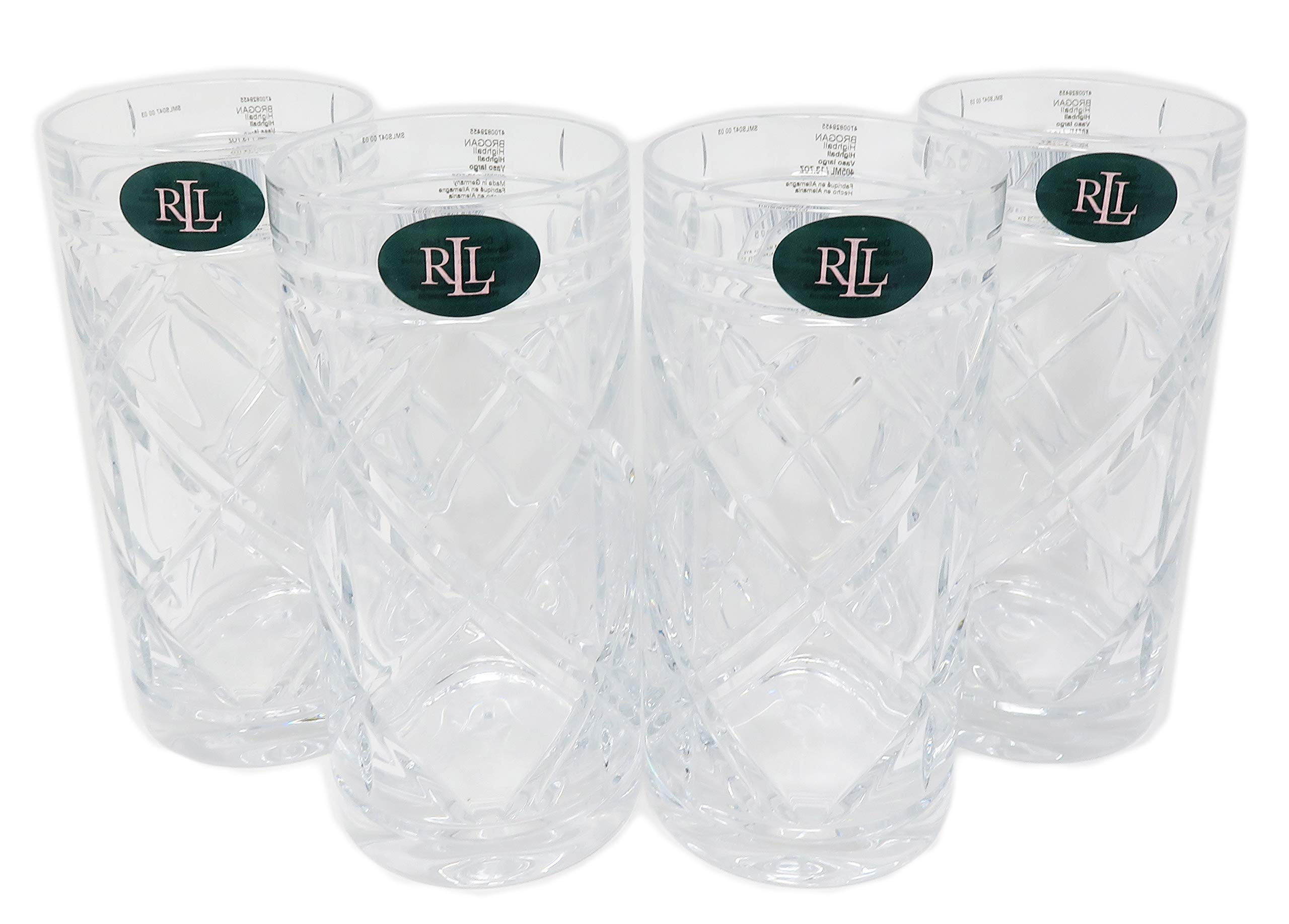 Lauren Ralph Lauren Set Of 4 Brogan Highball Crystal 13.7 Ounce / 405 mL Glasses
