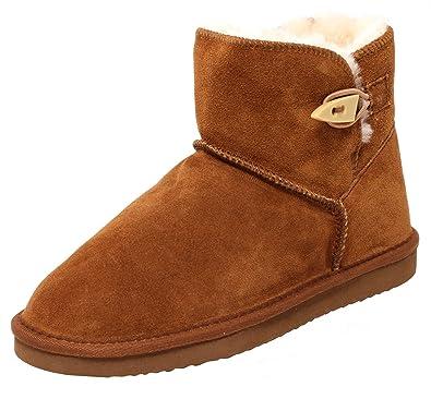 54a5210119bdf6 ZAPATO EUROPE Echtes Lammfell und Leder Damen Winter Stiefel Boots  Fellstiefel Kurzstiefel Braun Cognac Gr.