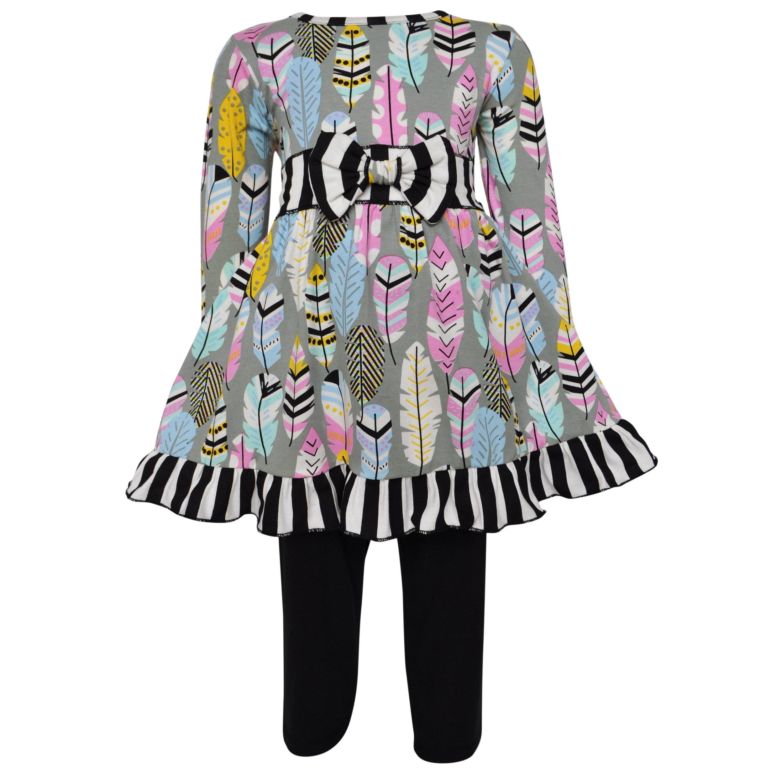 AnnLoren Big Girls 11/12 Boutique Fabulous Feathers Dress & Leggings Outfit Set