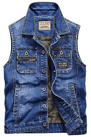 Denim Gilets Mode Hommes De En Veste Sans Essentiel Classic Jean Trucker Manches CtzxtOPq