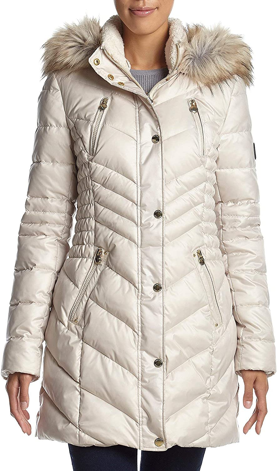 Laundry by Shelli Segal Faux Fur Trim Sherpa Hooded Cinched Waist Puffer Coat