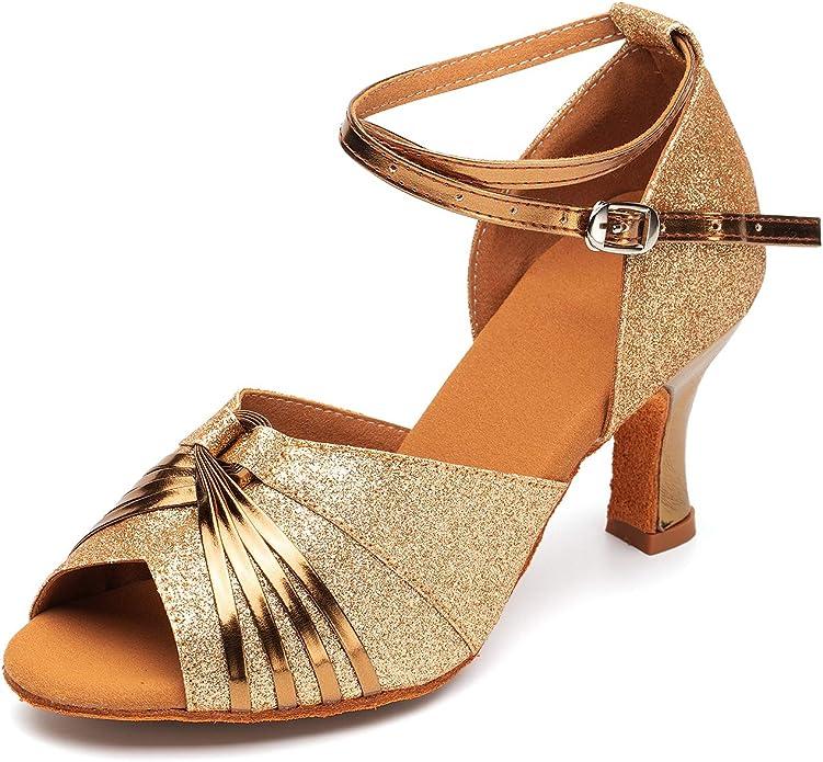 Naudamp Ladies Crystals Latin Dance Ballroom Shoes Satin Salsa Glitter Sandals Wedding Shoes for Women