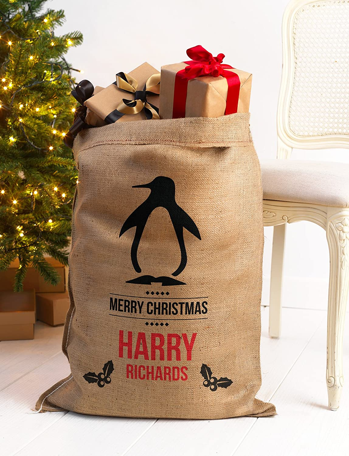 PERSONALISED CHRISTMAS SANTA SACK XL EXTRA LARGE HESSIAN TRADITIONAL STOCKING DO NOT OPEN STAR PRINT