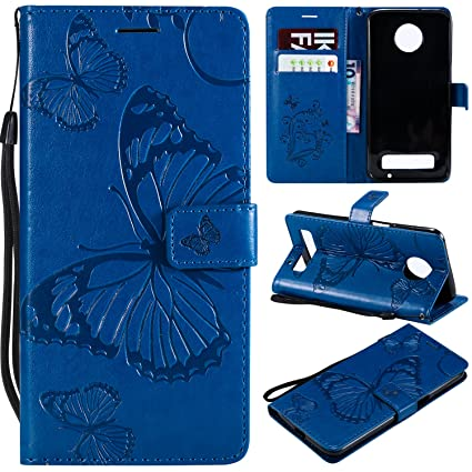 pretty nice b69ca 3211a Moto Z3 Play Case,Moto Z3 Play Wallet Case,Motorola Z3 Play Case with Card  Holders,Folio Flip Leather Butterfly Case Cover with Card Slots Kickstand  ...