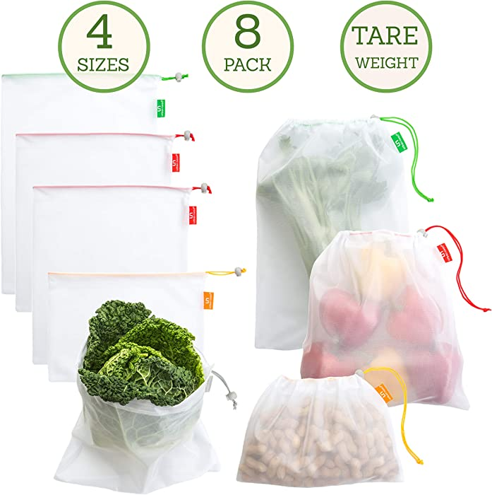 Premium Reusable Produce Bags - Grocery Mesh Bags Washable - 4 Sizes Bag (Large, Medium, Small, Square) in Set of 8 - Double-Stitched with Drawstring - with Colorful Tare Weight Tags