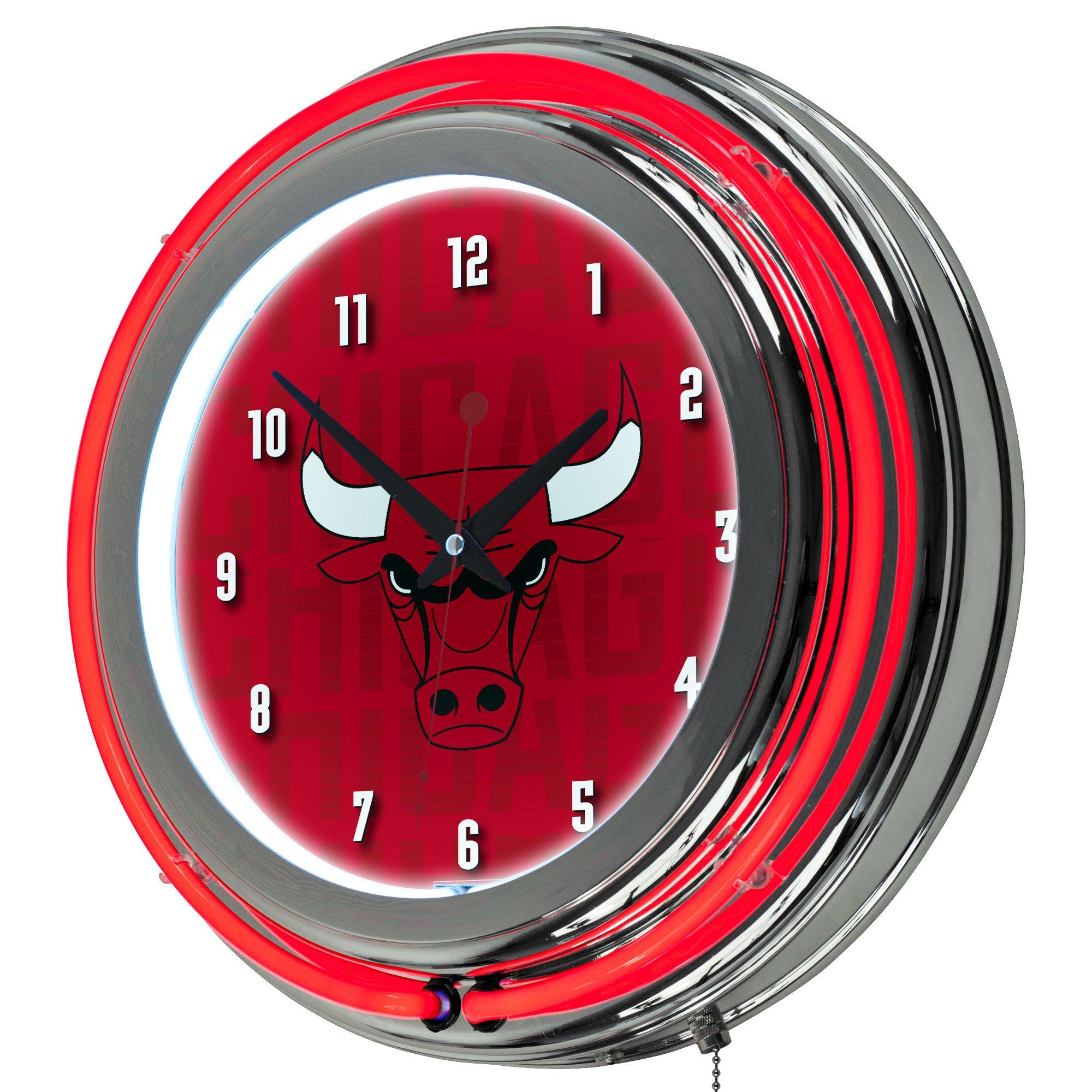 Trademark Gameroom NBA1400-CB3 NBA Chrome Double Rung Neon Clock - City - Chicago Bulls