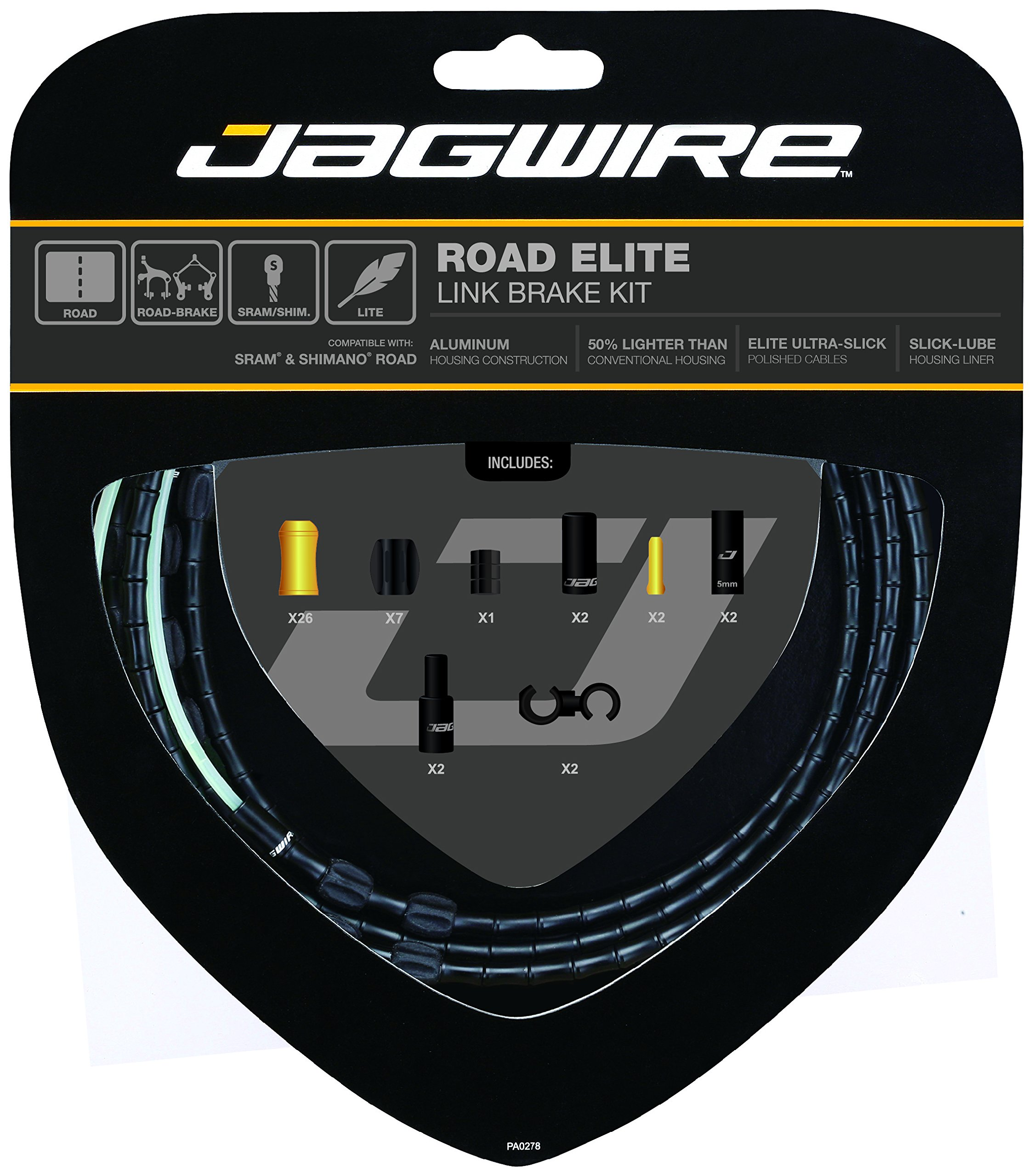 Jagwire Road Elite Link Brake Cable Kit Black, One Size by Jagwire