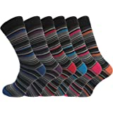 6 Pk Mens Luxury Stripe Cotton Rich Sock 6-11 UK By Socksmad