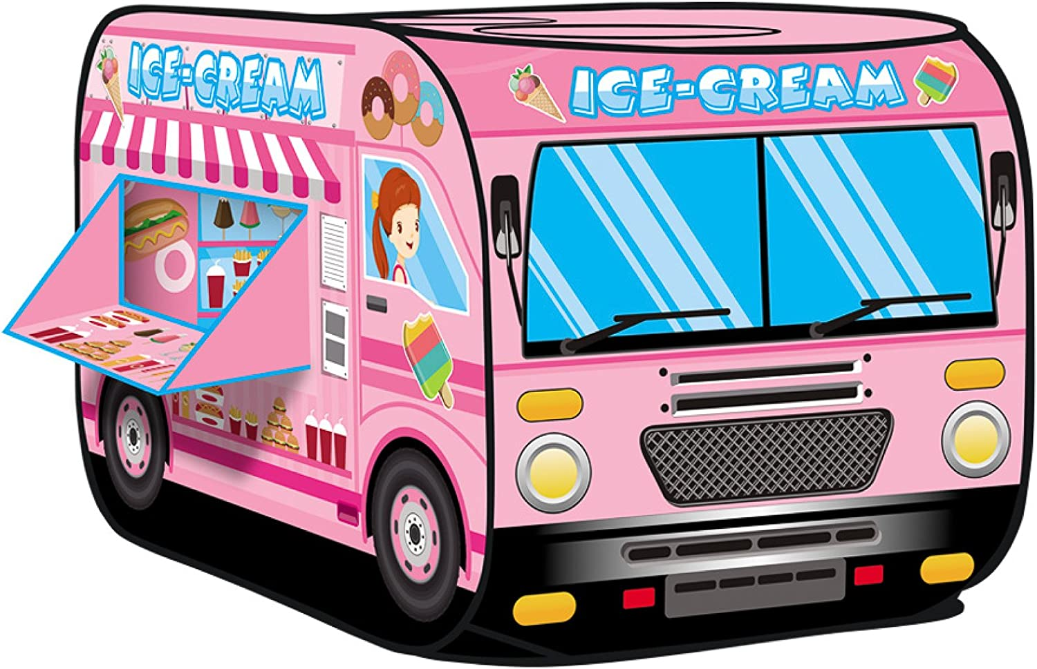 Kiddie Play Ice Cream Truck Pop Up Kids Play Tent for Boys and Girls Indoor Outdoor Toy