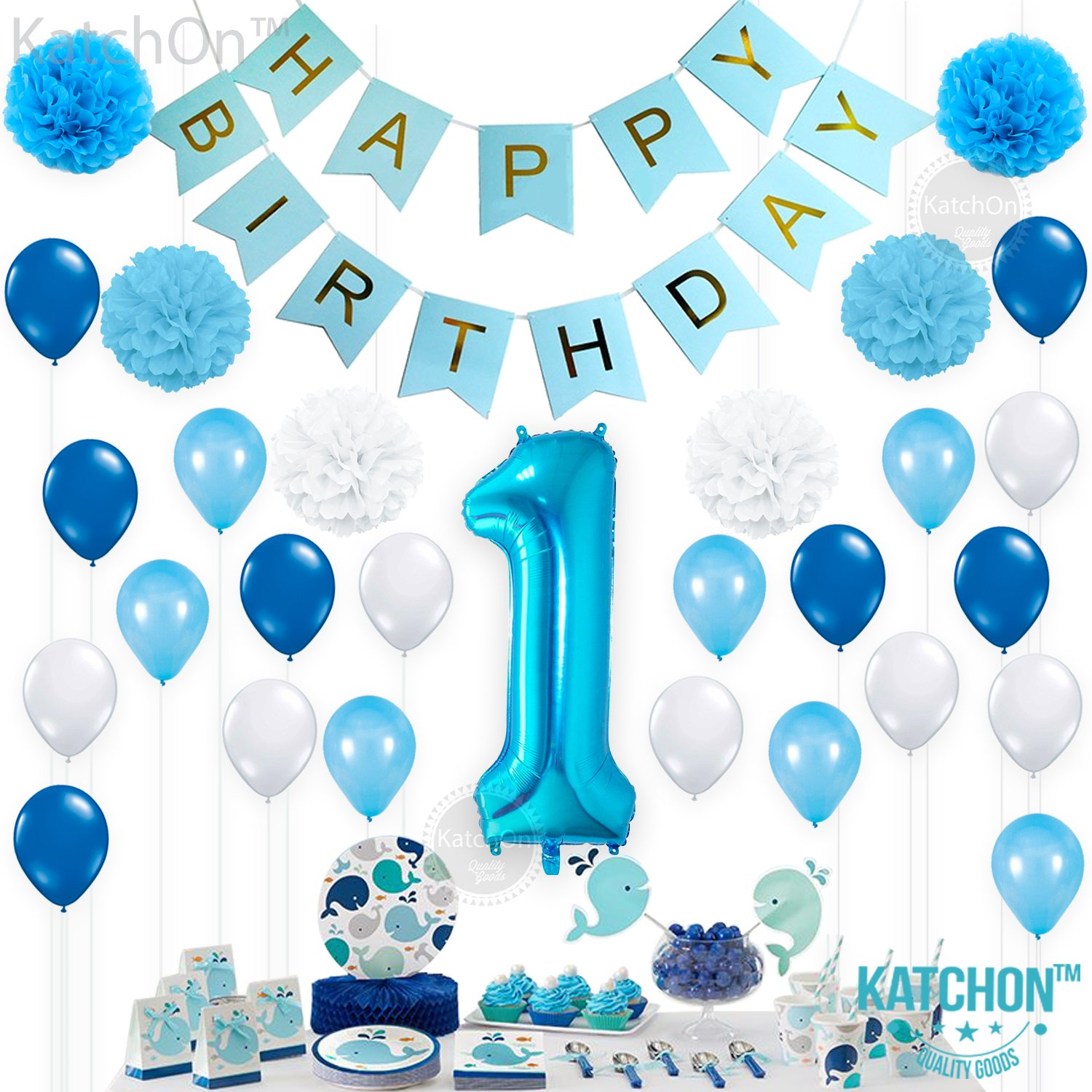 1st Birthday Decorations For Boys Baby Boy Decoration Pack Includes Blue Happy