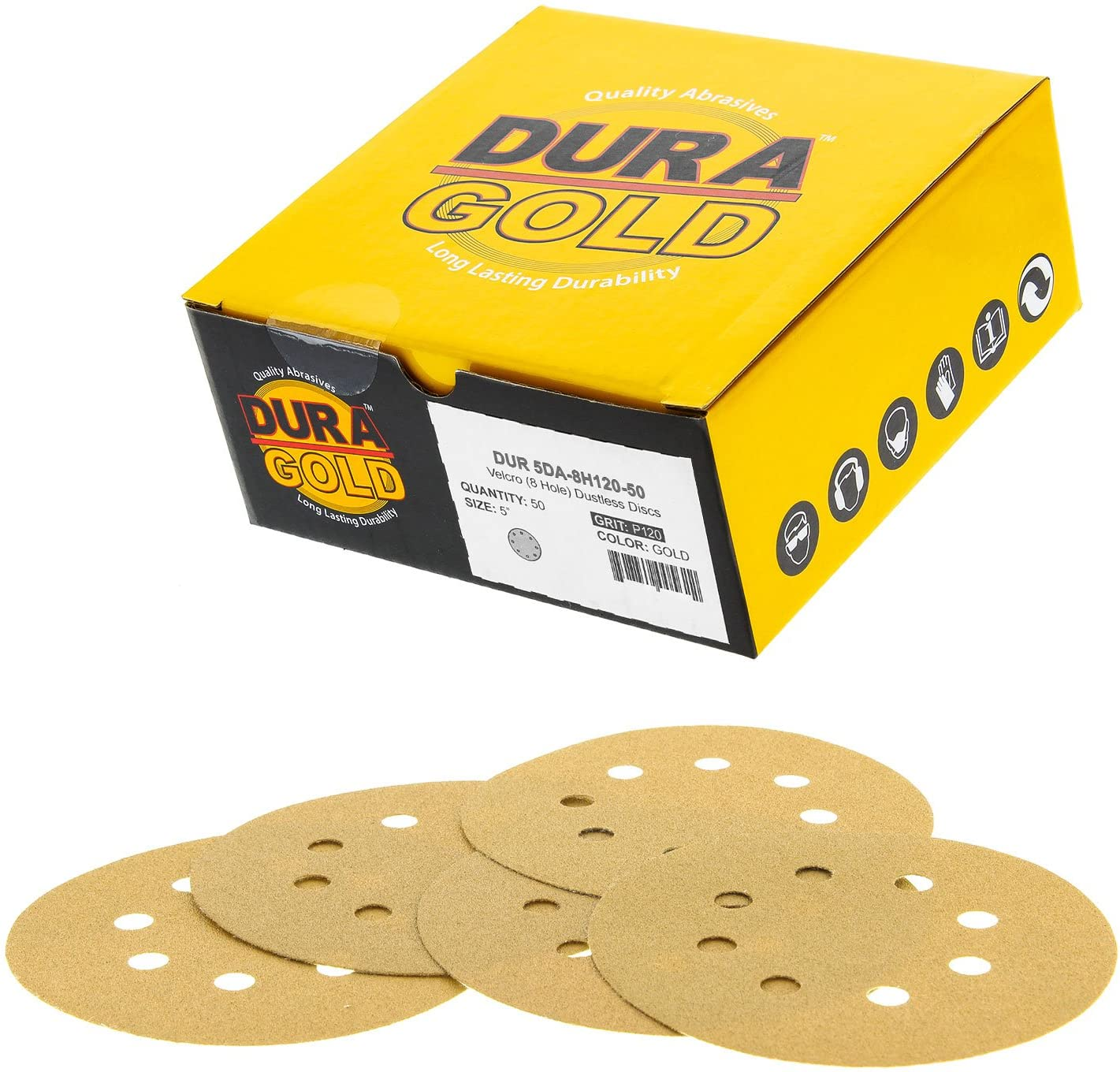 "Dura-Gold Premium - 120 Grit - 5"" Gold Sanding Discs - 8-Hole Dustless Hook and Loop for DA Sander - Box of 50 Finishing Sandpaper Discs for Woodworking or Automotive 81PJelDXK4L"