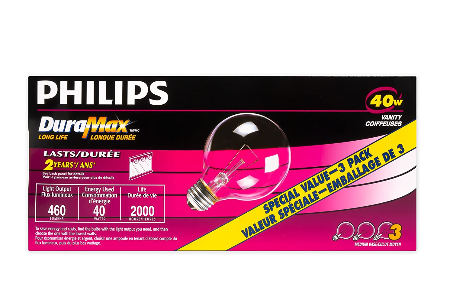 Philips 126821 Incandescent 40W G25 Medium Base-3 Pack, Clear