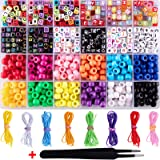 Duufin 1000 Pieces Bracelet Making Beads ABC Beads Pony Beads Letter Alphabet Beads with 8 Rolls Colorful Elastic…
