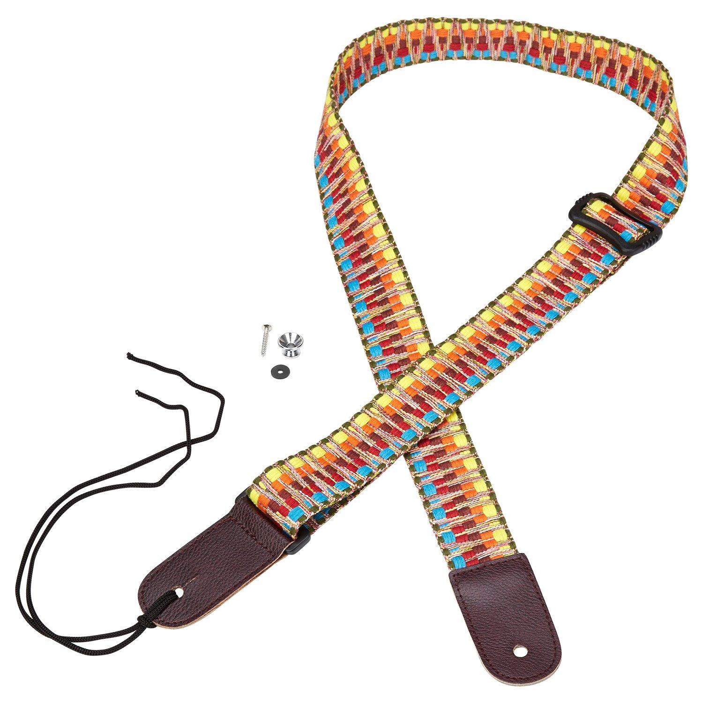 Mugig Strap New Adjustable Cotton Strap with Leather Ends for Ukulele