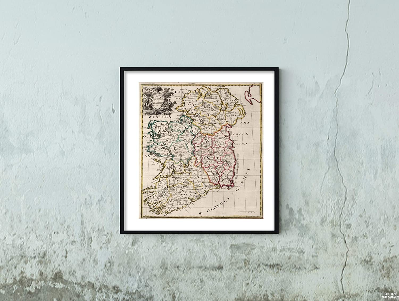 Map Of Ireland To New York.Amazon Com 1720 World Atlas Map A New Of Ireland Vintage Fine Art